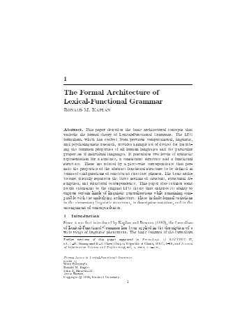 The Formal Architecture of Lexical-Functional Grammar