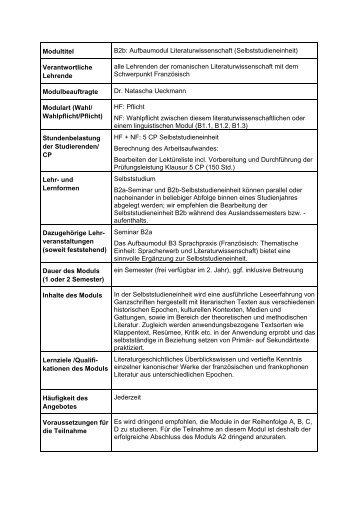 B2b: Aufbaumodul Literaturwissenschaft (Selbststudieneinheit)