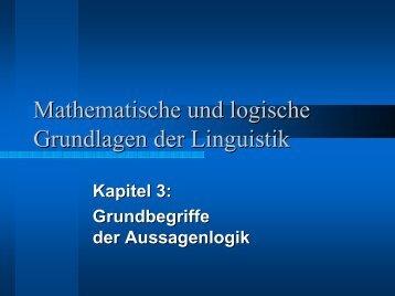 Kapitel 3: Grundbegriffe der Aussagenlogik
