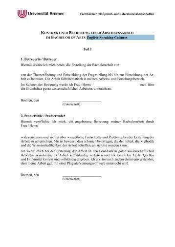 Betreuungskontrakt BA - Fachbereich 10