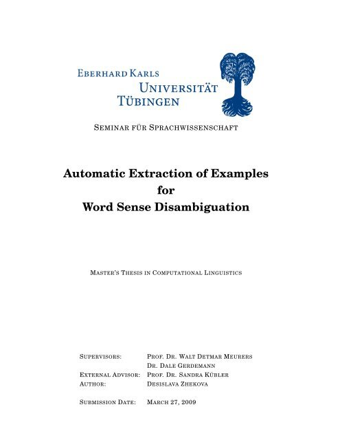 Automatic Extraction of Examples for Word Sense Disambiguation