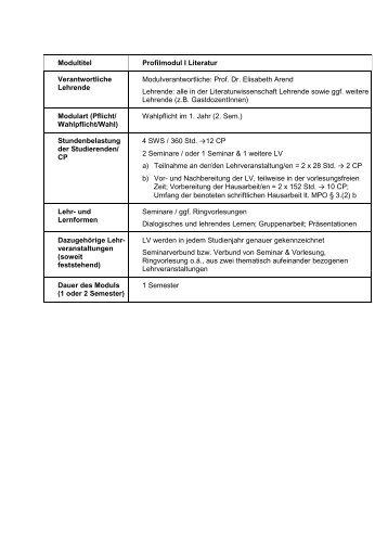 Modultitel Profilmodul I Literatur Verantwortliche Lehrende ...