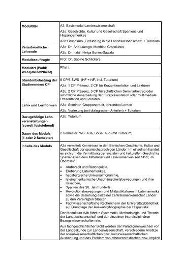 A3: Basismodul Landeswissenschaft