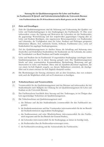 Satzung - Fachbereich 10 - Universität Bremen