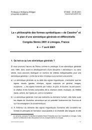 La « philosophie des formes symboliques » de Cassirer et le plan d ...