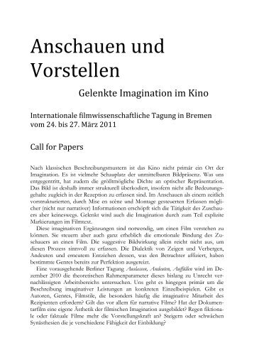 Call for Papers - Fachbereich 10 - Universität Bremen