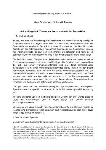 Thesenpapier Koloniallinguistik - Universität Bremen
