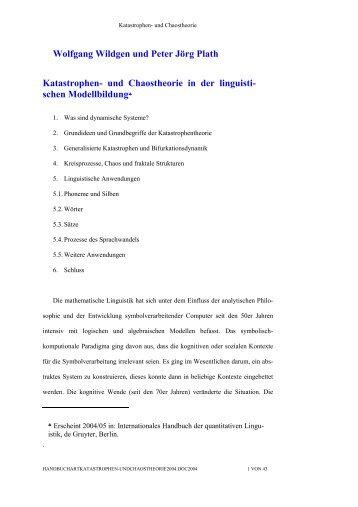 Katastrophen- und Chaostheorie in der linguistischen Modellbildung