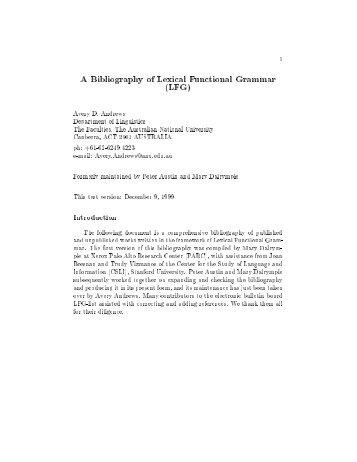 A Bibliography of Lexical Functional Grammar (LFG)