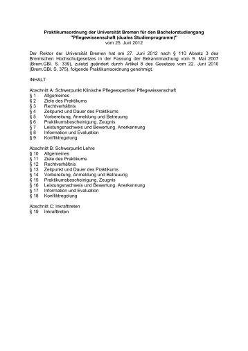 Praktikumsordnung (application/pdf 64.9 KB) - Universität Bremen