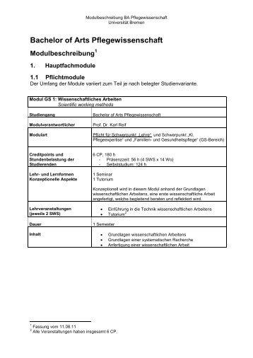Bachelor of Arts Pflegewissenschaft - Universität Bremen