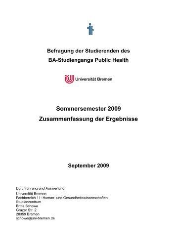 Studierendenbefragung B.A. Public Health - Sommersemester 2009