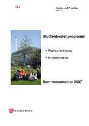 Studienbegleitprogramm Sommersemester 2007