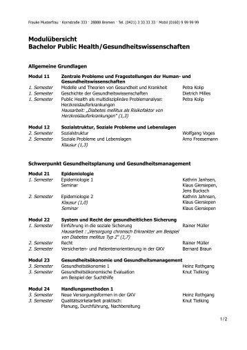 Modulübersicht Bachelor Public Health/Gesundheitswissenschaften