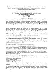 Fachspezifischer Anhang zur Ordnung für die Magisterprüfung