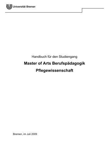 Modulhandbuch Master Berufspädagogik Pflegewissenschaft