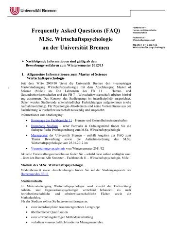 Frequently Asked Questions (FAQ) M.Sc. Wirtschaftspsychologie an ...