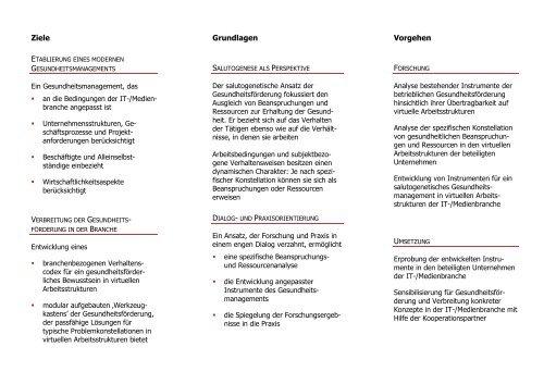 Ziele Grundlagen Vorgehen - Fachbereich 11 Human-und ...