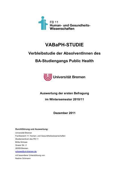 AbsolventInnenbefragung B.A. Public Health - Wintersemester 2010 ...
