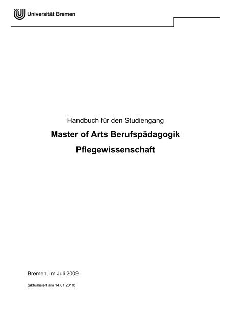 Handbuch für den Studiengang - Universität Bremen