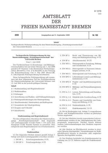 AMTSBLATT DER FREIEN HANSESTADT BREMEN - Universität ...
