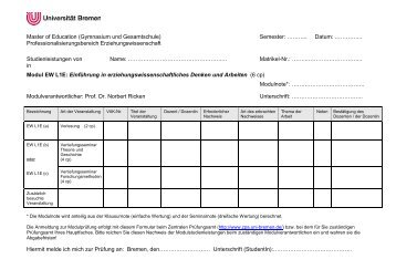 Master of Education (Gymnasium und Gesamtschule) Semester ...
