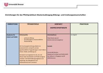 Einrichtungen für das Praktikum - Fachbereich 12 - Universität Bremen