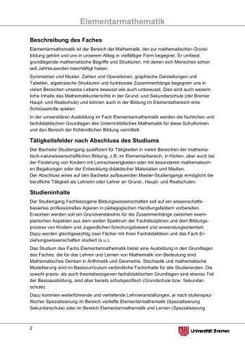 Elementarmathematik - Fachbereich 12 - Universität Bremen