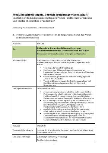 "Modulbeschreibungen ""Bereich ... - Fachbereich 12"