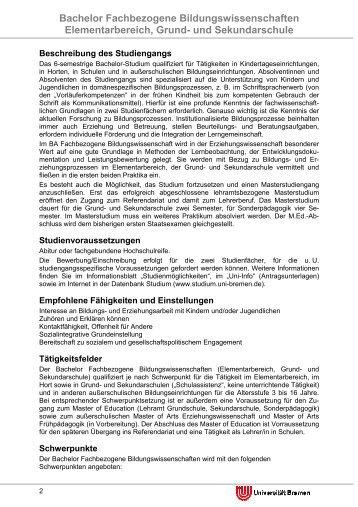 Bachelor Fachbezogene Bildungswissenschaften Elementarbereich ...