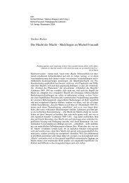 Die Macht der Macht – Rückfragen an Michel Foucault