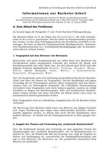 Informationen zur Bachelorarbeit - Fakultät Kunst- und ...