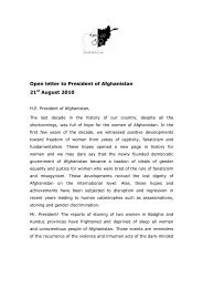 Open letter to President of Afghanistan 21st August 2010 - Maria Zemp