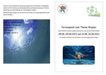 Anmeldung Sommerferien 2013 - Thema Wasser