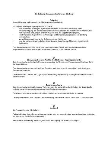 Die Satzung des Jugendparlaments Stolberg