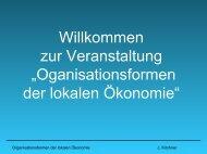 Organisationsformen der lokalen Ökonomie