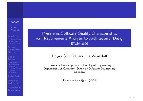 Preserving Software Quality Characteristics from