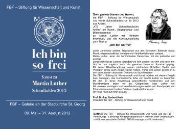 Kunst zu Martin Luther - Schmalkalden 2012 - FBF Forschungs ...