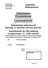 Losverzeichnis für - Forstbetriebsgemeinschaft Hassberge wV