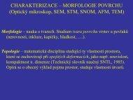 CHARAKTERIZACE – MORFOLOGIE POVRCHU - FBMI