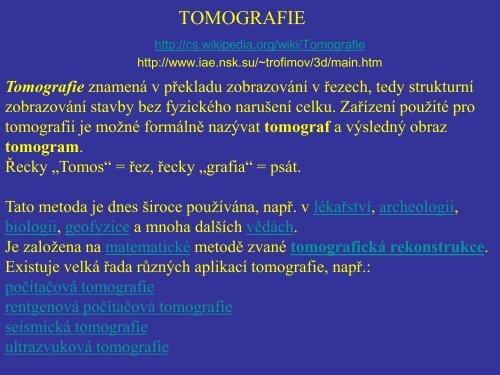 TOMOGRAFIE - FBMI