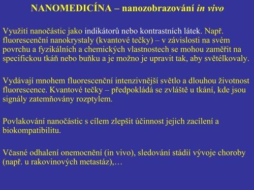 NANOMEDICÍNA – nanozobrazování in vivo - FBMI
