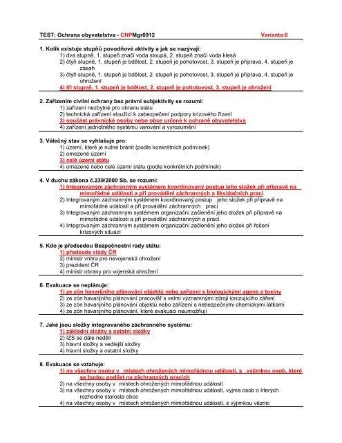 Přijímací testy pro Mgr. stud. program Ochrana obyvatelstva - FBMI