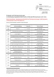 Prüfungen und Prüfungsvorleistungen im Studiengang Angewandte ...