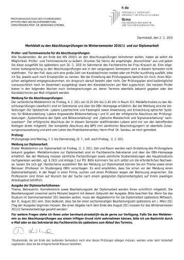 Merkblatt zu den Abschlussprüfungen im Wintersemester 2010/11 ...