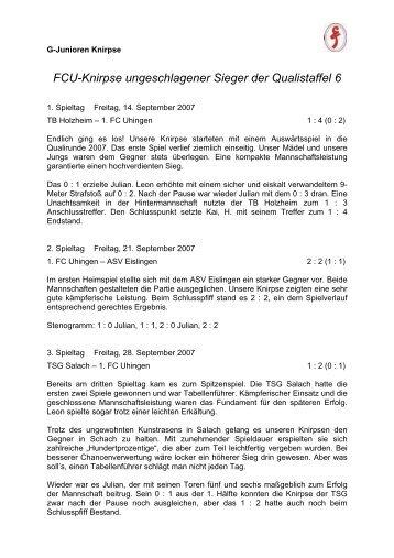 FCU-Knirpse ungeschlagener Sieger der Qualistaffel 6