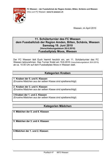 11. Schülerturnier des FC Weesen dem Fussballclub der Region ...