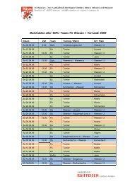 Matchdaten aller KIFU Teams FC Weesen / Vorrunde 2009