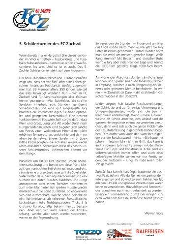 5. Schülerturnier des FC Zuchwil