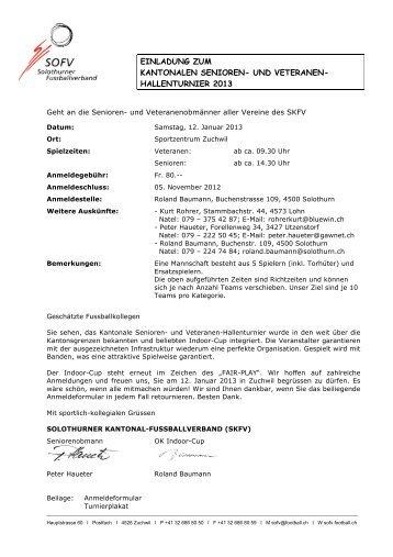 einladung zum kantonalen senioren- und veteranen - FC Zuchwil
